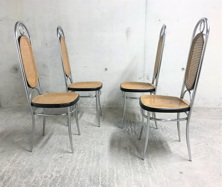 Mid-Century Modern Thonet No. 17 Chrome Dining Chairs, Set of Four, 1970s For Sale