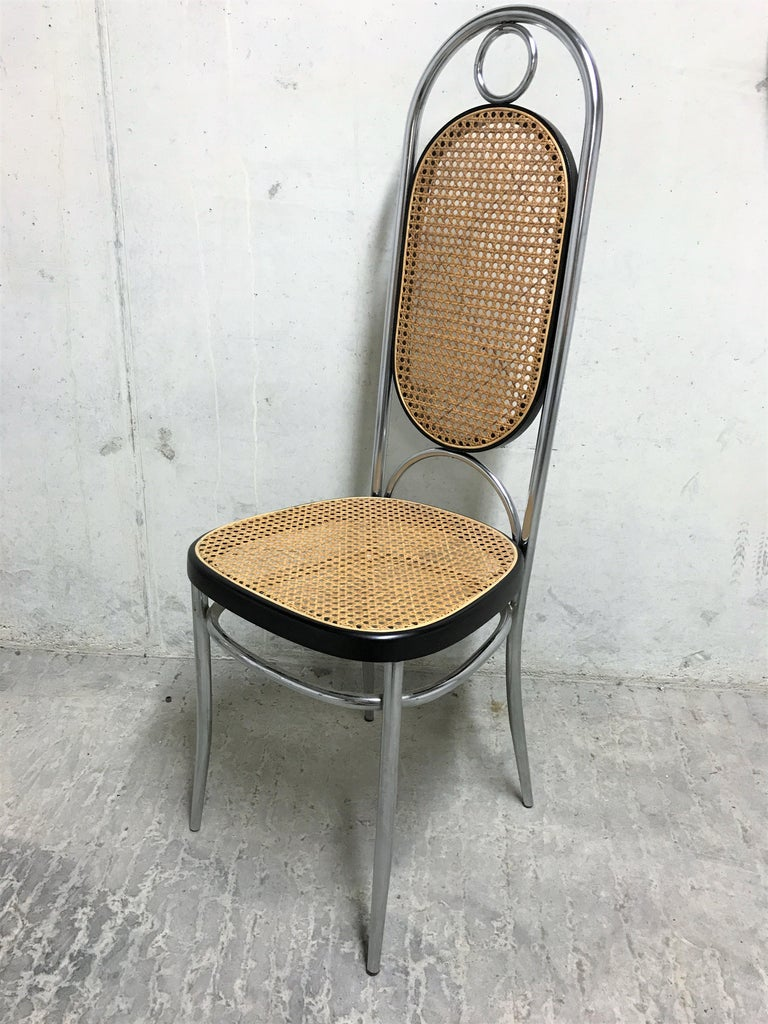 Austrian Thonet No. 17 Chrome Dining Chairs, Set of Four, 1970s For Sale