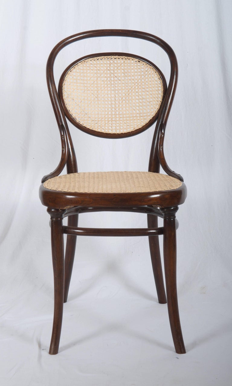 Beech bentwood with caned seat and backrest. Made in Austria by Gebrüder Thonet, circa 1890. Fully restored.