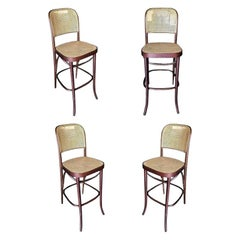 Thonet Number 811 Bentwood Bar Stool with Wicker Seat, Set of Four