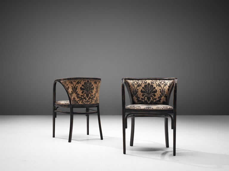Early 20th Century Thonet Pair of Armchairs in Patterned Upholstery For Sale