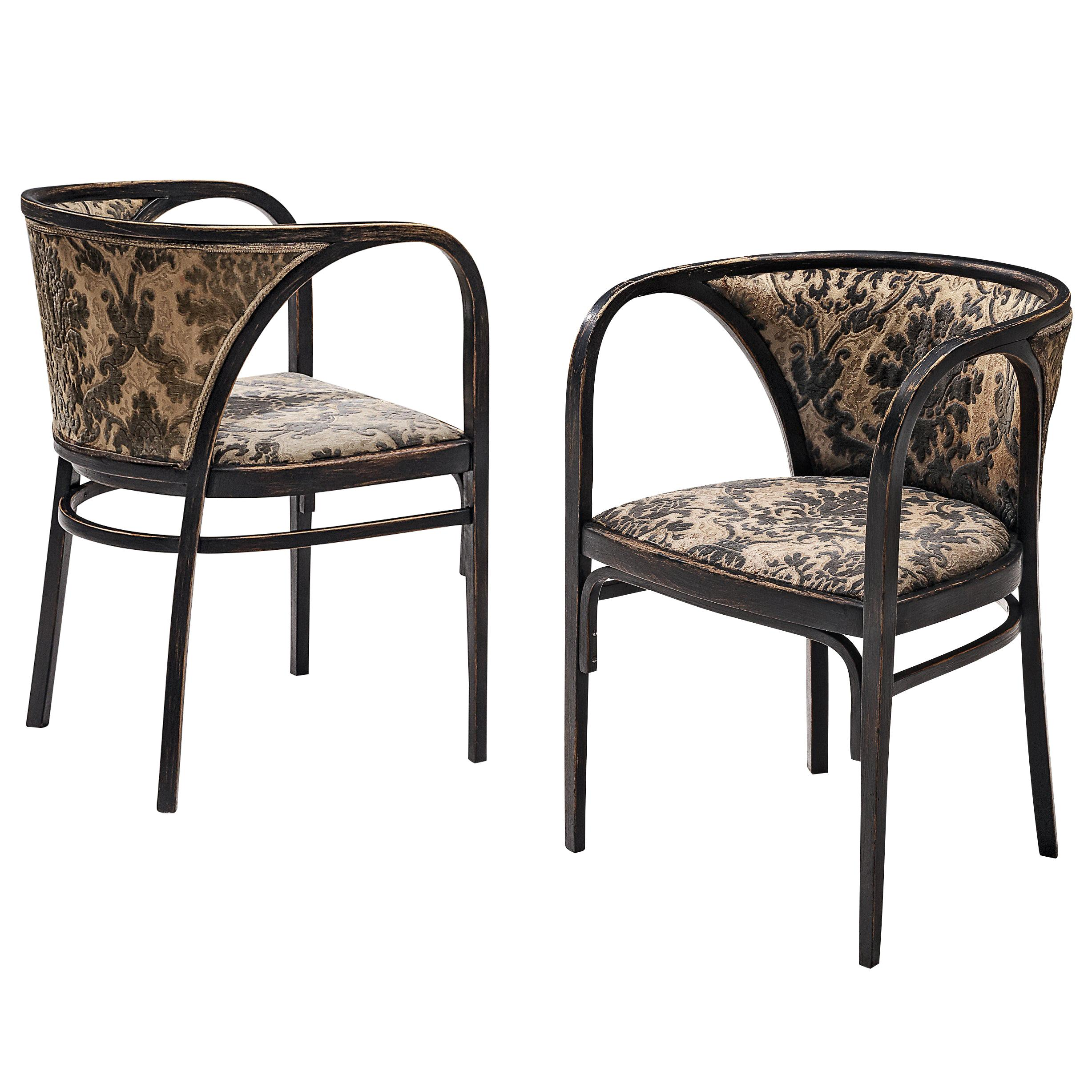 Thonet Pair of Armchairs in Patterned Upholstery