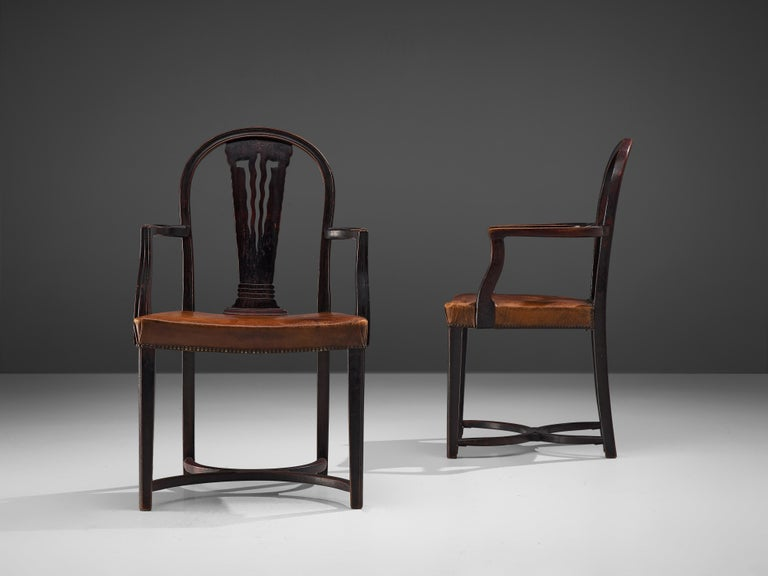 Thonet Pair of Art Deco Armchairs in Wood and Patinated Leather In Good Condition For Sale In Waalwijk, NL