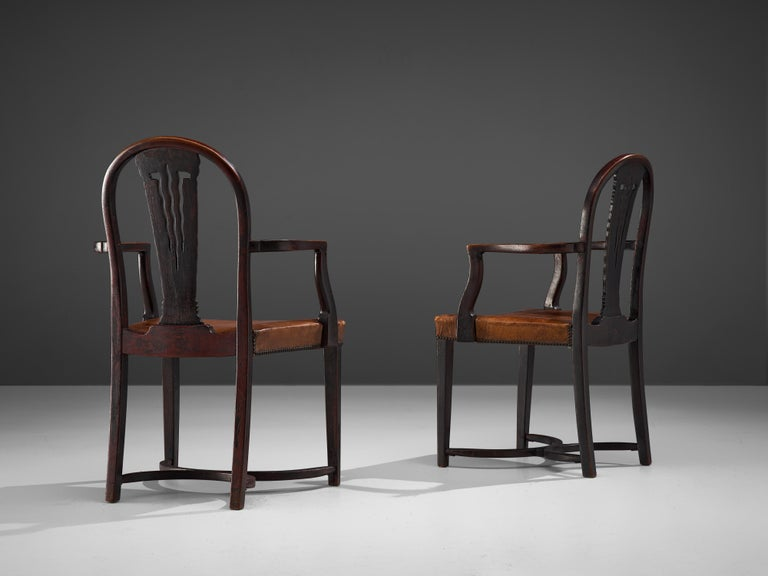 Thonet Pair of Art Deco Armchairs in Wood and Patinated Leather For Sale 1