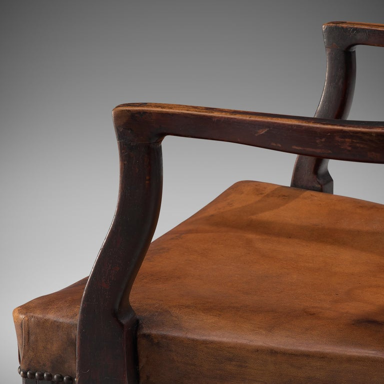 Thonet Pair of Art Deco Armchairs in Wood and Patinated Leather For Sale 3