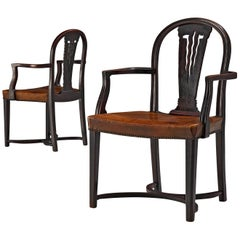 Thonet Pair of Art Deco Armchairs in Wood and Patinated Leather