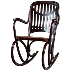 Thonet Rocking Chair, Model Number 71, Vienna, 1910, Signed Thonet Bellow