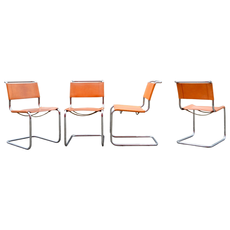 Thonet S 33 Vintage Cognac Vegetal Leather Chairs Mart Stam Cantilever Set of 4