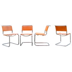 Thonet S 33 Vintage Cognac Vegetal Leather Chairs Mart Stam Cantilever Set of 4