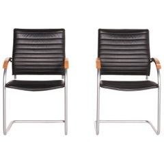 Thonet S 74 leather chair black 2x cantilever chairs