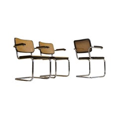 Thonet S46 Cantilever Marcel Breuer Dining Chair in Cane and Chrome, 1979