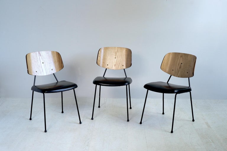 Mid-Century Modern Thonet, Set of 3 Chairs, France, 1950 For Sale