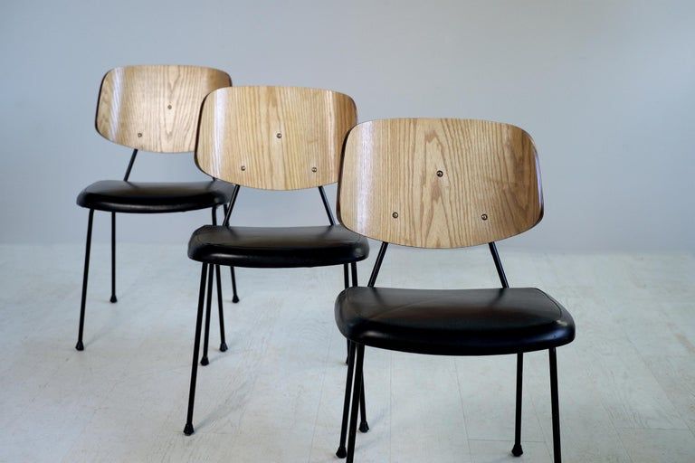Metal Thonet, Set of 3 Chairs, France, 1950 For Sale