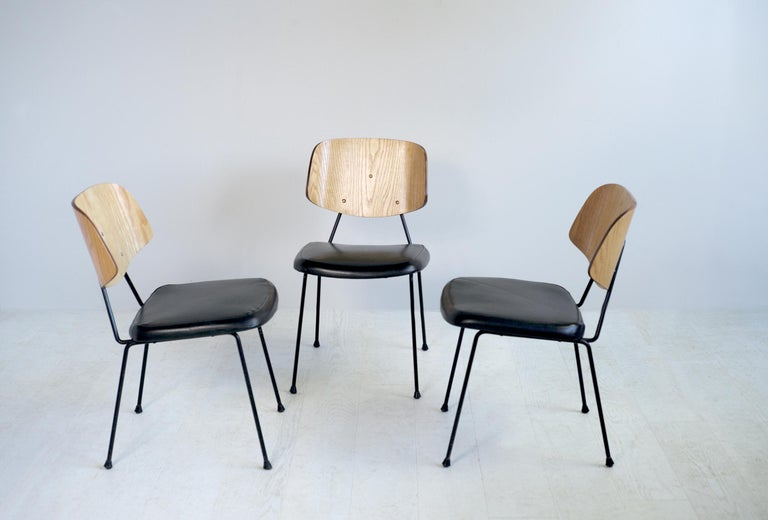 Thonet, Set of 3 Chairs, France, 1950 For Sale 2