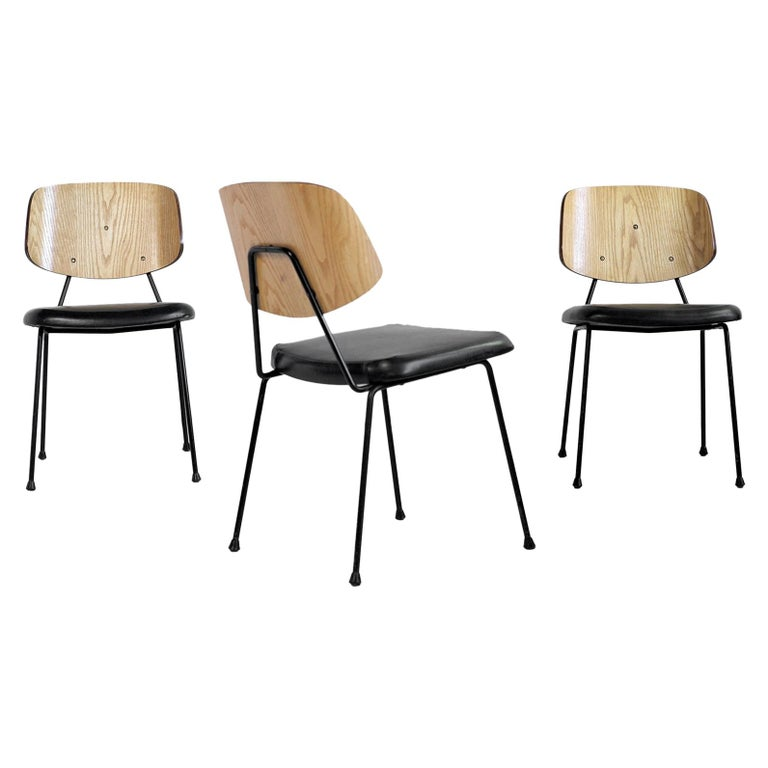 Thonet, Set of 3 Chairs, France, 1950 For Sale