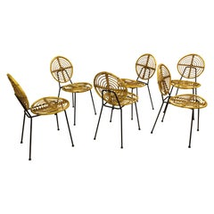 Thonet Set of 6 Rattan Chairs CM166 on Black Metal Base, 1950s France