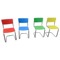Thonet Set of Four Red, Blue, Yellow and Green S43St Cantilever Stackable Chairs
