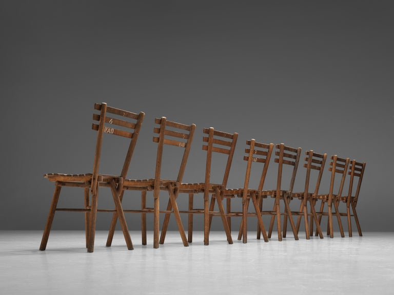 Thonet Slat Chairs in Patinated Wood For Sale 4