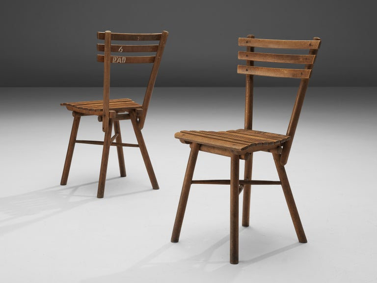 Thonet Slat Chairs in Patinated Wood For Sale 5