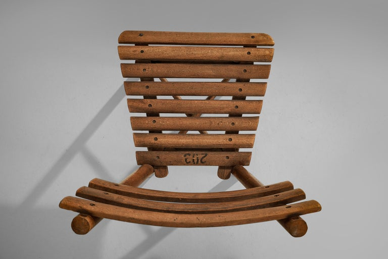 Thonet Slat Chairs in Patinated Wood For Sale 6