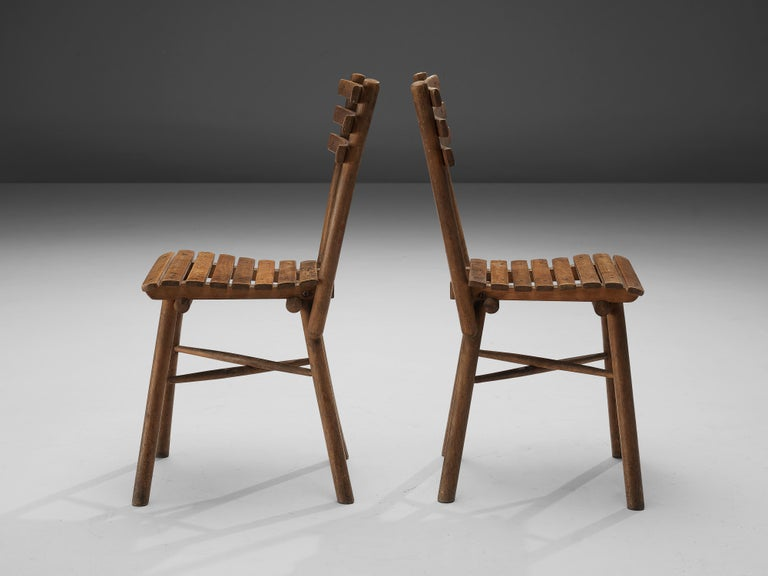 Thonet Slat Chairs in Patinated Wood For Sale 7
