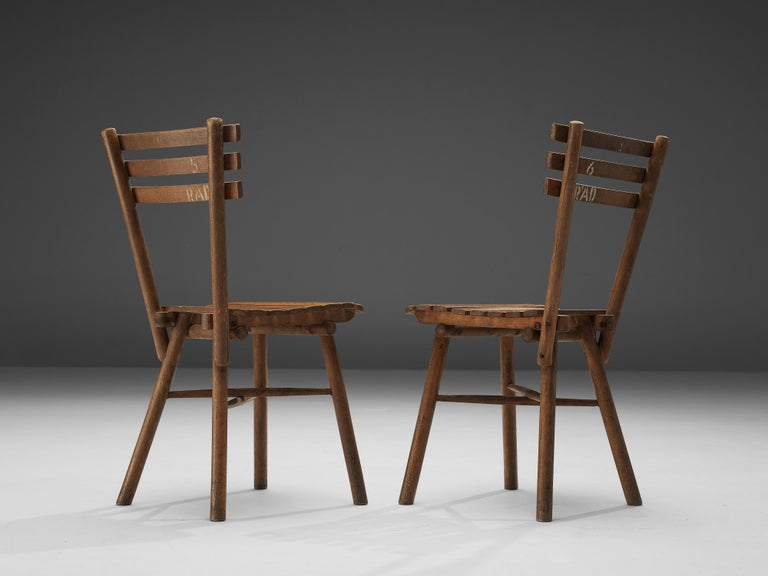 Thonet Slat Chairs in Patinated Wood For Sale 9