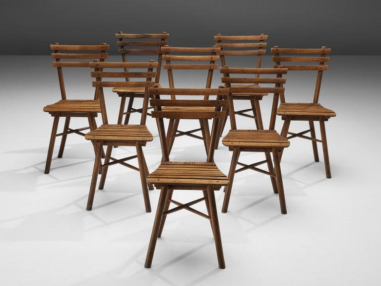 Austrian Thonet Slat Chairs in Patinated Wood For Sale