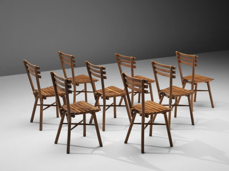 Mid-20th Century Thonet Slat Chairs in Patinated Wood For Sale