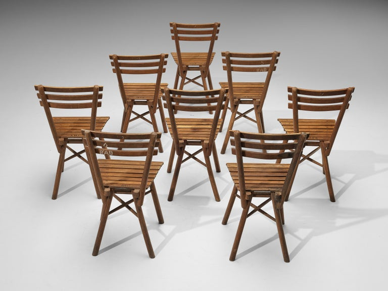 Thonet Slat Chairs in Patinated Wood For Sale 2