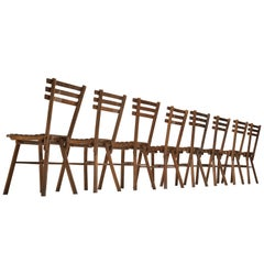 Thonet Slat Chairs in Patinated Wood
