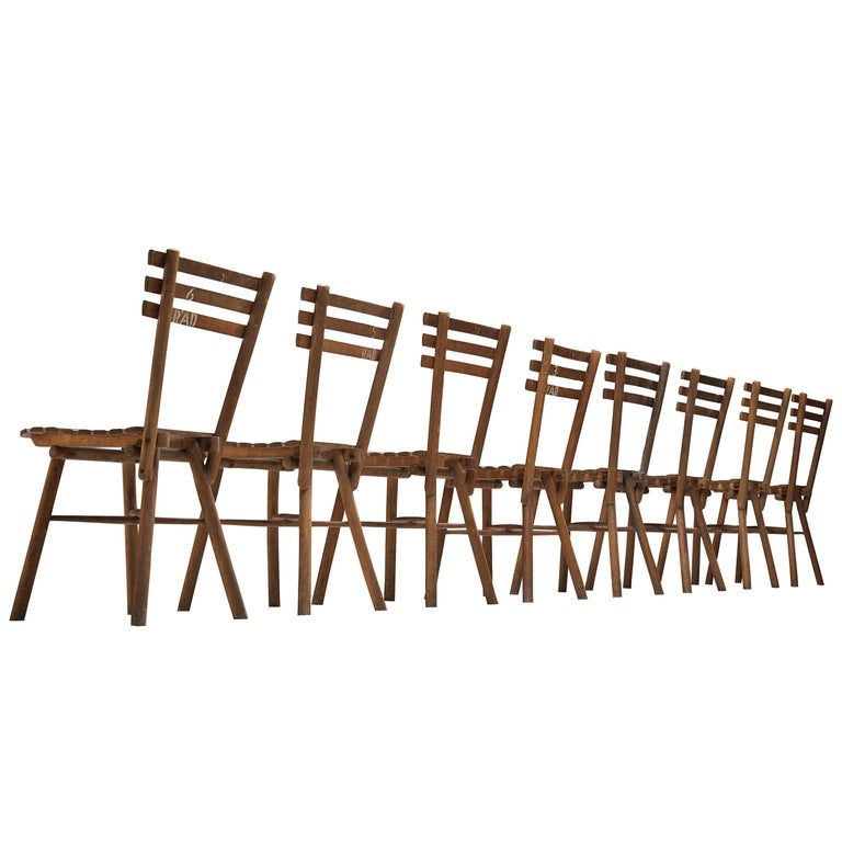 Thonet Slat Chairs in Patinated Wood For Sale