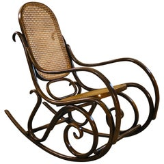 Thonet Style Beechwood and Cane Rocking Chair