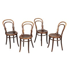 Thonet Style Bentwood Bistro Chairs, Set of 4