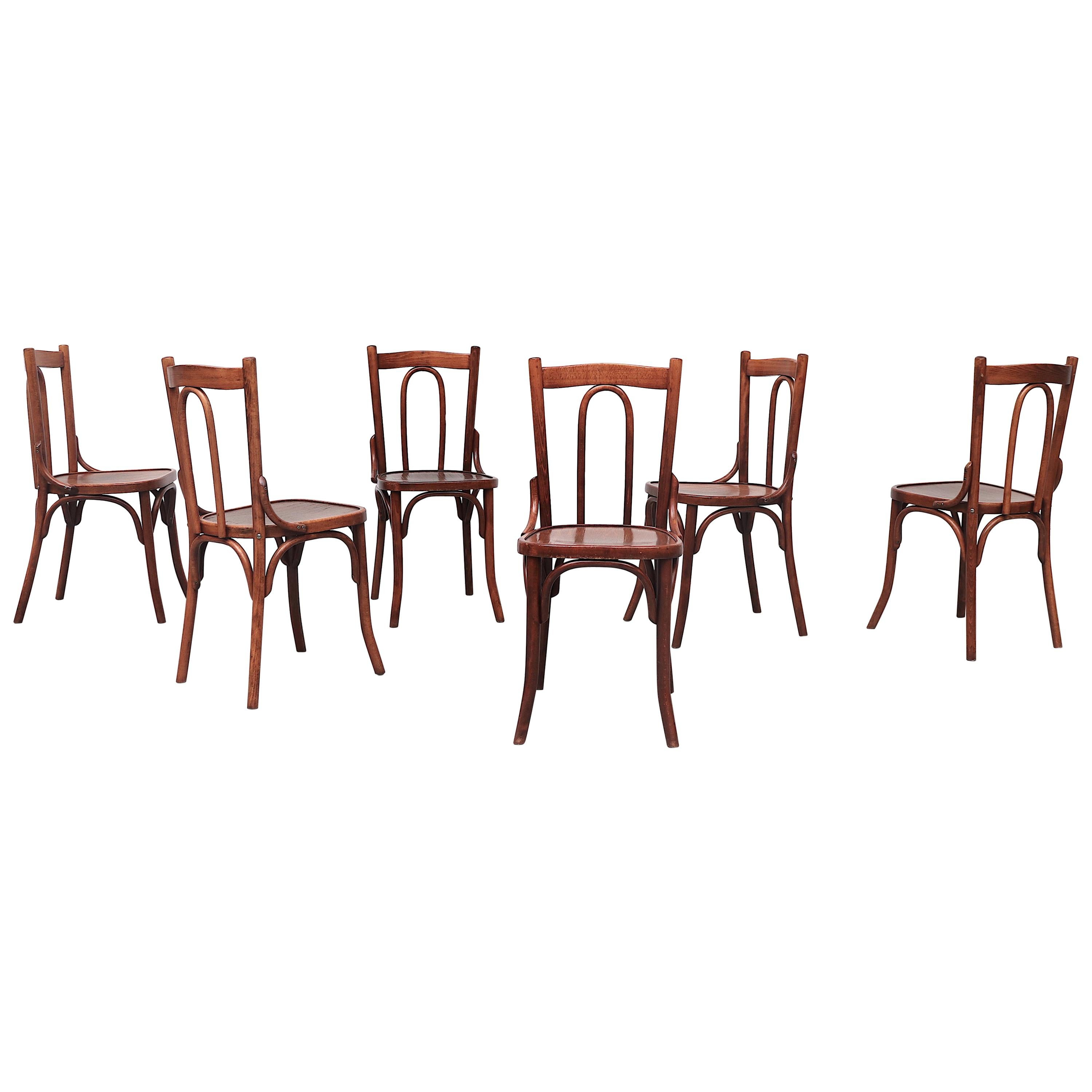 Thonet Style Cherry Toned Wood Bistro Chairs
