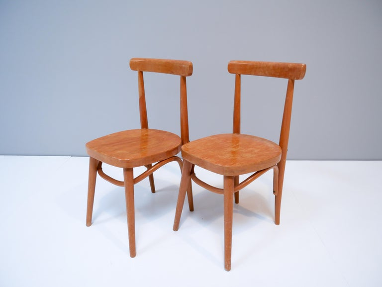 Thonet style children's bentwood chairs 1950s Sweden.