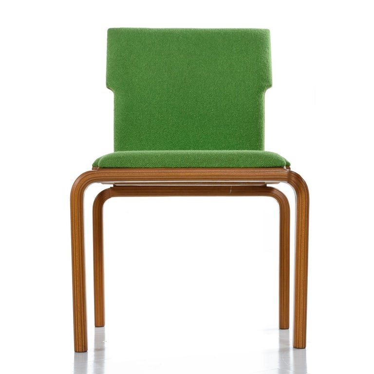 Unknown Thonet Style Mid-Century Modern Maple Bent Ply Green Wool Tweed Dining Chairs For Sale