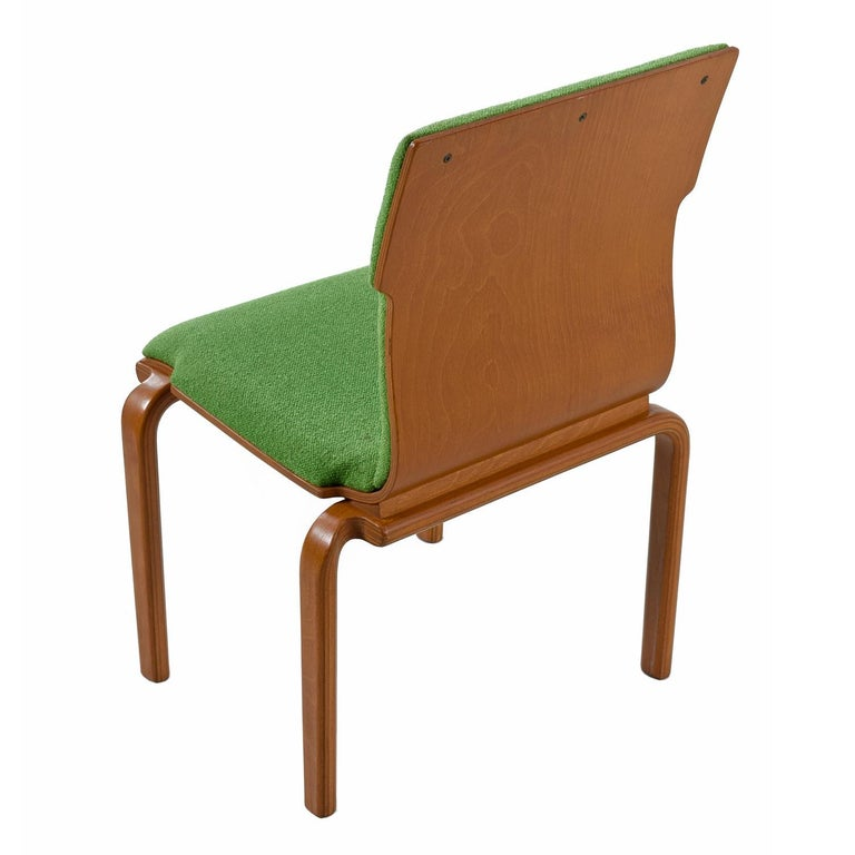 Thonet Style Mid-Century Modern Maple Bent Ply Green Wool Tweed Dining Chairs In Good Condition For Sale In Saint Petersburg, FL