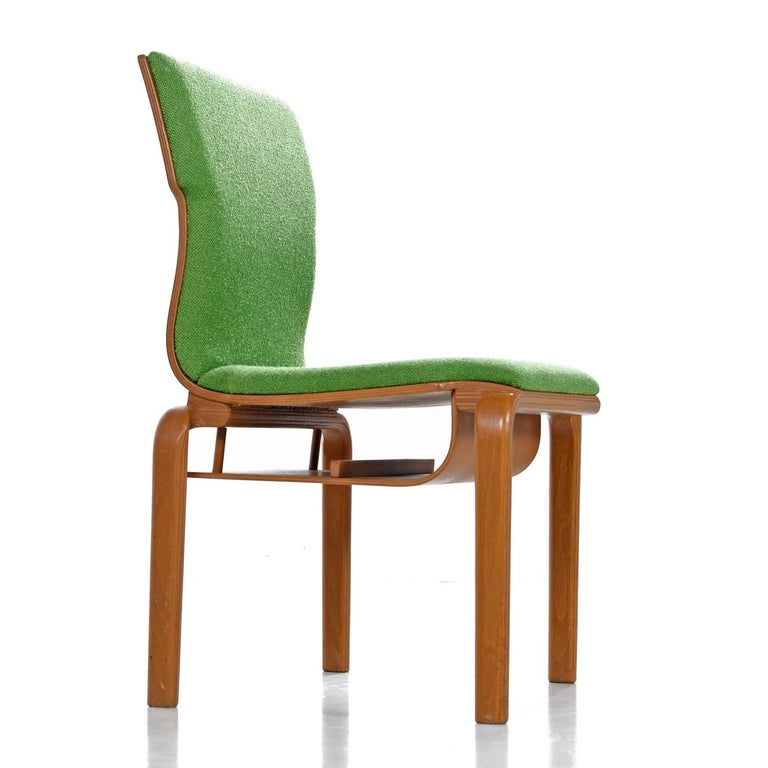 Thonet Style Mid-Century Modern Maple Bent Ply Green Wool Tweed Dining Chairs For Sale 2