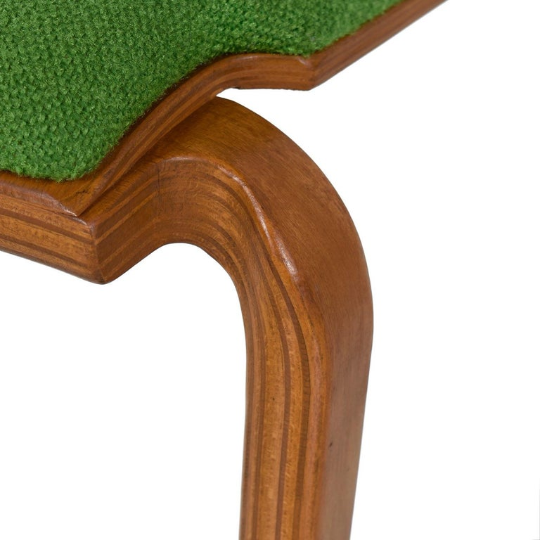 Thonet Style Mid-Century Modern Maple Bent Ply Green Wool Tweed Dining Chairs For Sale 3
