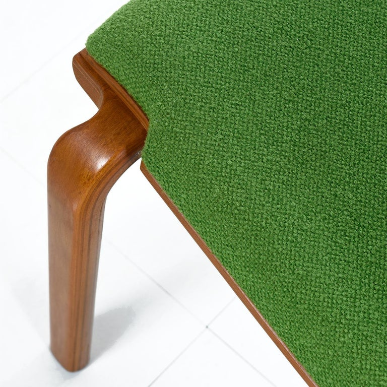 Thonet Style Mid-Century Modern Maple Bent Ply Green Wool Tweed Dining Chairs For Sale 4