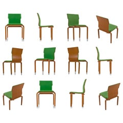 Thonet Style Mid-Century Modern Maple Bent Ply Green Wool Tweed Dining Chairs