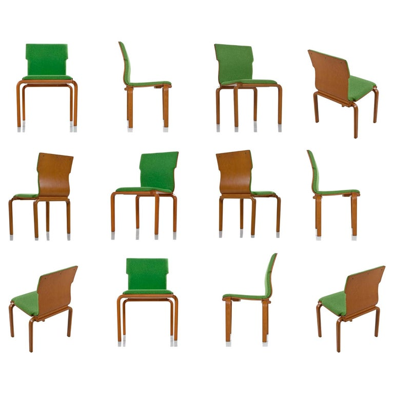 Thonet Style Mid-Century Modern Maple Bent Ply Green Wool Tweed Dining Chairs For Sale