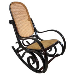 Thonet Style Wood and Cane Rocking Chair