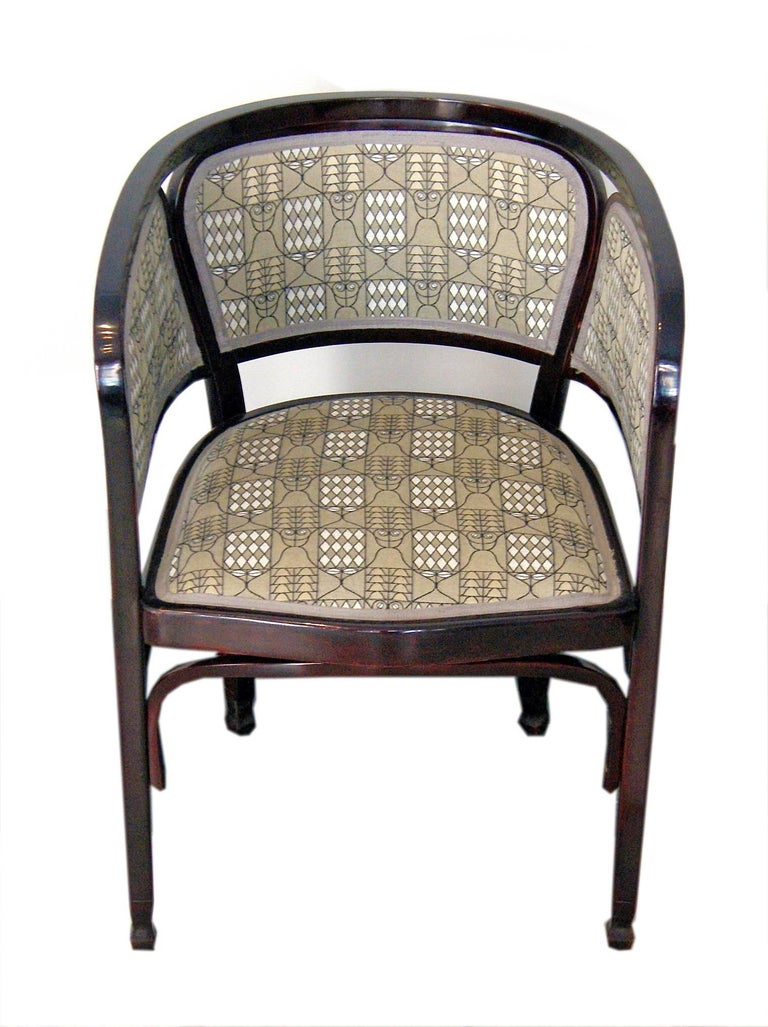 Thonet Vienna most elegant armchair.  Please note: Two armchairs are available!  This armchair is strongly influenced by model number 715. Related design made by Gustav Siegel in year 1899: Gustav Siegel (1880-1968) - pupil of Josef Hoffmann