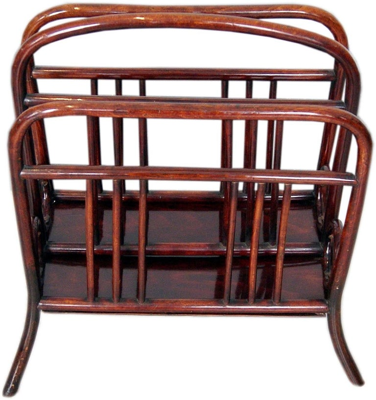 Thonet Vienna most elegant music or newspaper / magazine stand (= for holding newspapers)  Model number 33 This model was created before the year 1904 by Austrian Manufactory Thonet Brothers.   high quality handwork / stunningly shaped bentwood