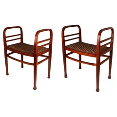 Thonet Vienna Pair of Art Nouveau Chauseuses Model 6614, circa 1910