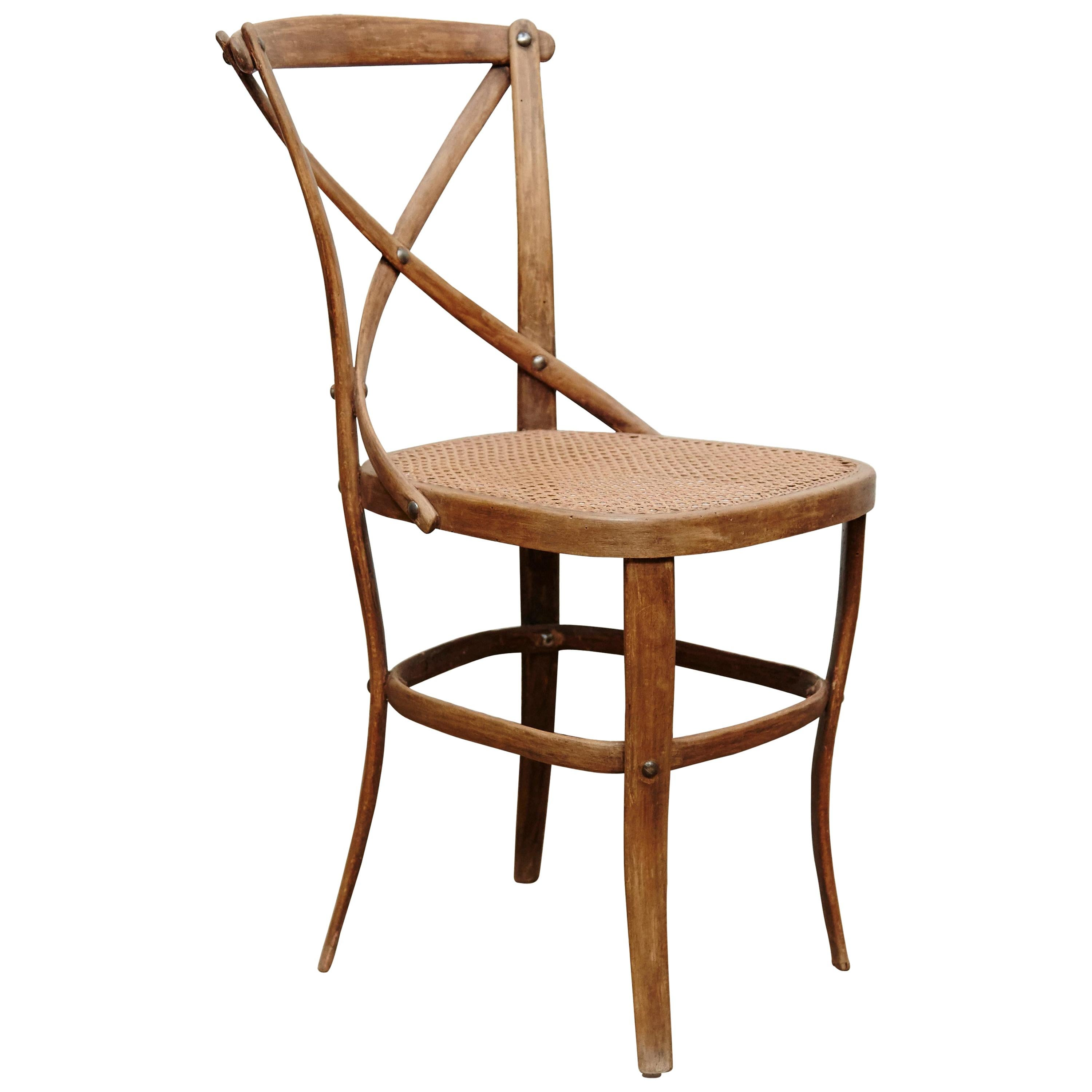 Thonet Wood and Rattan Chair Number 91 by August Thonet, circa 1920
