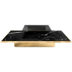 Thor Center Table With Nero Marquina Marble an Polished Brass