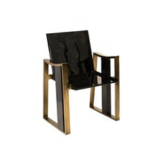 Thor Chair in Black Pen Shell & Bronze-Patina Brass Details by Kifu Paris