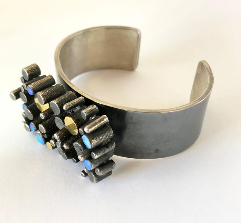 Modernist Thor Selzer Oxidized Sterling Silver Gilt Opal Danish Brutalist Cuff Bracelet For Sale